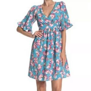 Betsey Johnson Blue Floral Island Dress Size 4